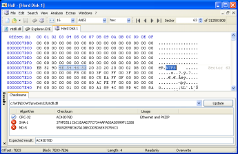 Mini screenshot of HxD hex editor and disk editor